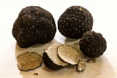 Black summer truffle on wood