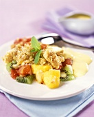 Coconut gratin with fruit and custard