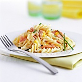 Pasta spirals with ham and sweet corn