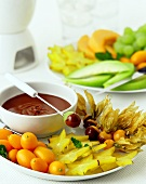 Chocolate fondue with exotic fruits
