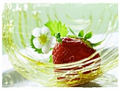 Strawberry with flower in a caramel nest