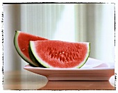 Wedges of water melon on plate