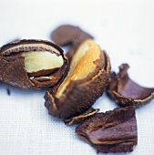 Brazil nuts with opened shells
