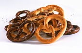 Light and dark pretzels with salt and caraway