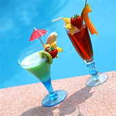 Two summery fruit cocktails