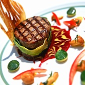 Grilled beef fillet in leek wrapping