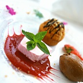Dessert plates: chocolate mousse, strawberry ice in sauce etc.