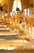 Champagne glasses on festive table