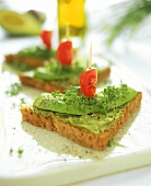 Wholemeal toast with avocado, tomato and cress
