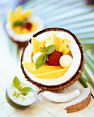 Exotic fruit salad with coconut yoghurt from Thailand