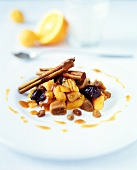 Dried fruit compote with cinnamon sticks