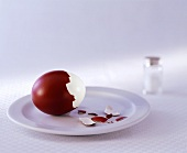 Red egg, partly shelled; salt cellar