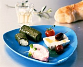 Greek appetiser plate with stuffed vine leaves etc.