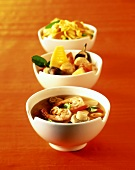 Three Thai dishes (soup with shrimps etc.)