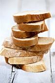 Pile of sliced white bread