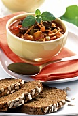 Goulash soup with sunflower bread