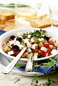 Greek salad with fresh oregano