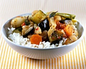 Middle Eastern vegetables on rice