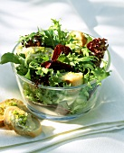 Mixed salad leaves with garlic baguette