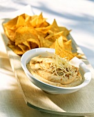 Hummus with grated cheese and tortilla chips