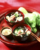 Asian soup with pak choi, poultry and mushrooms