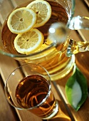 White wine sangria with lemon slices