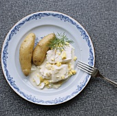 Cod in egg sauce with potatoes from Sweden