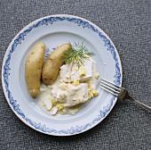 Kabeljau in Eiersauce mit Kartoffeln aus Schweden