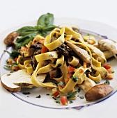 Tagliatelle ai porcini (Ribbon pasta with ceps, Italy)