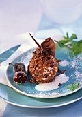 Chocolate cherry ball with marzipan sauce