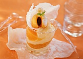 Apricot mousse with fruit in glass