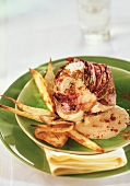 Grilled radicchio with cheese sauce and cheese biscuits