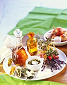 Still life of medicinal herbs, spices, oils and essences