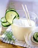Whey drink with cucumber decoration