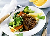 Beef fillet with broccoli and carrots