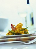 Saffron risotto with green asparagus and shrimps