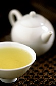 Japanese Sencha Gold tea in bowl and teapot