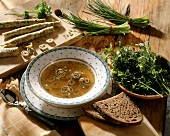 Herb pancake soup with bread