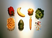 Fresh vegetables and fruit, chips and trays
