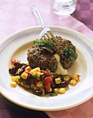 Vienna steak with bean and sweetcorn salsa