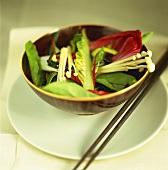 Asian spinach salad with Enoki mushrooms
