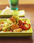 Chicken with Chinese cabbage and peppers