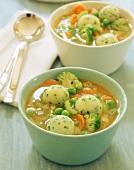 Minestrone with potato dumplings