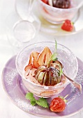 Steamed figs with strawberry and orange liqueur sauce