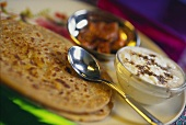 Indian potato breads (Paratha) with dip