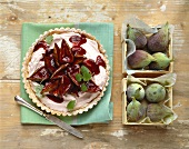 Fig tart with lemon balm