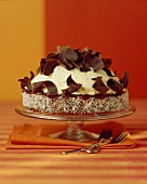 Chocolate and coconut torte with chocolate curls