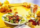 Summery salad with red mullet and citrus fruits