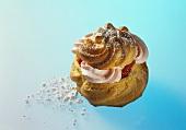Cream puff with strawberry cream and fresh strawberries