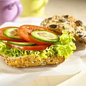 Veggie burger with tomatoes and cucumber